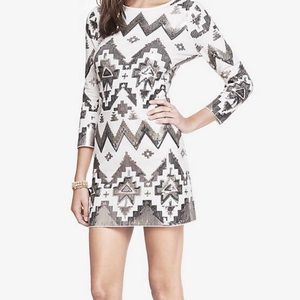 Express Sequined Mini Dress White 3/4 Sleeve S